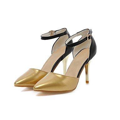 SANMULYH DonneS Scarpe Estive In Similpelle Cinturino Alla Caviglia Tacchi Stiletto Heel Punta Fibbia Per La Festa Di Nozze &Amp; Sera Silver Gold Oro