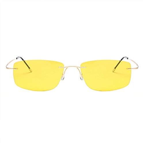 Kjwsbb Titanlose randlose Sonnenbrille Polarisierte Männer - Super dünne, rahmenlose Sonnenbrille, die Schutz bietet