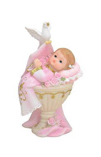 Tortenaufsatz Tortenfigur Dekofigur Baby Tauffigur Taufe Geburt Taufbecken Taufbrunnen | 11 cm (Mädchen - rosa)