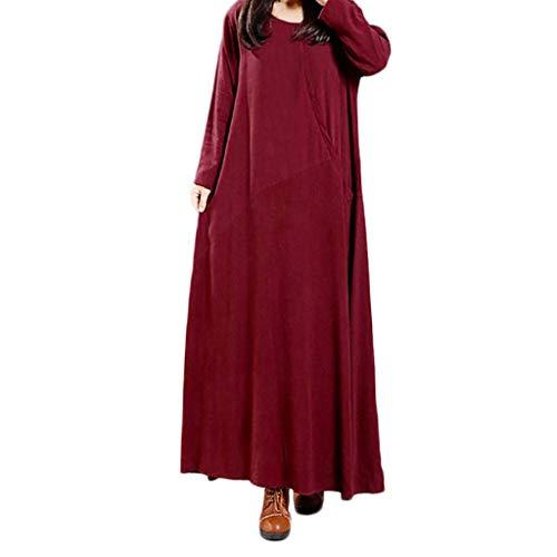 Sasstaids Sommerkleid,Frauen Plus größe Reine Farbe Tasche Baumwolle und leinen lose langes Kleid