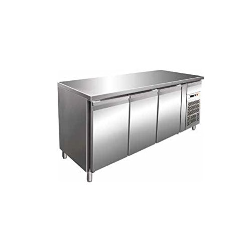 Tisch Gefrierschrank Gastronomie GN1/1belüftet 3Türen aus Edelstahl AISI 304Temp. - 18°/-22°C