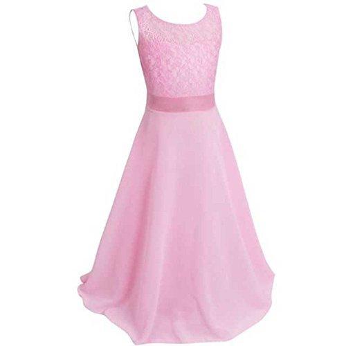 Live It Style It Mädchen lang Spitzenkleid Chiffon Abendkleid Bodenlang Kleid Hochzeit Brautjungfer Blume (11-12 Jahre/ Herstellergroße :  170, Rosa)