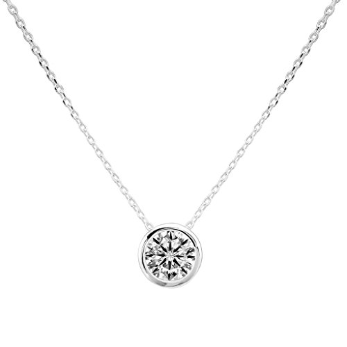 Ever Faith - Lunaire- Collier Argent 925 7MM Cercle Zircon Serti Clos Solitaire N06490-1
