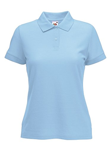 Fruite of the Loom Damen Lady-Fit 65/35 Pique Polo Shirt, vers.Farben Pastellblau