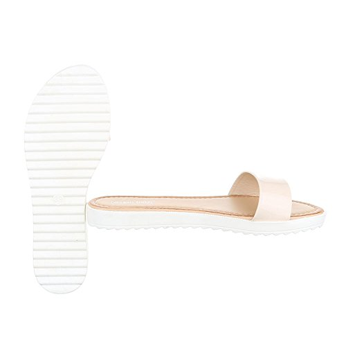 Pantoletten Damenschuhe Jazz & Modern Leichte Ital-Design Sandalen / Sandaletten Beige T165