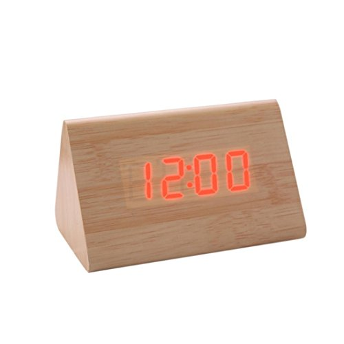 Preisvergleich Produktbild Holz Wecker Funk Wecker Digital ,Snooze, Datumsanzeige, Temperatur und Sensor Licht LED Uhr LuckyGirls