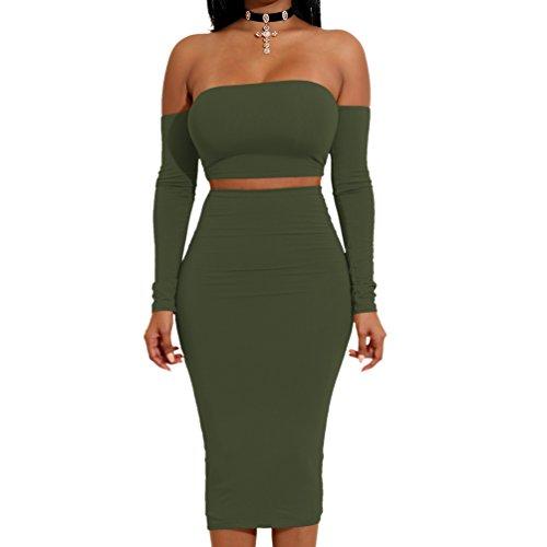 LINNUO Damen 2 Stück Sexy Kleid Backless Langarm Verband Bodycon Club Party Dress -