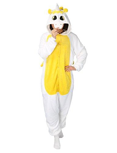 Cosplay Pyjama Kigurumi Adulte Unisexe Combinaison Costume Déguisement Animaux Ensemble de Pyjama (M, jaune)