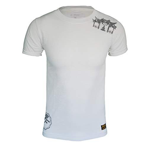 4Fighter Tissue Round-Neck T-Shirt in weiß mit dezentem grauen Tempel Buddha Logo-Druck, Größe:XL