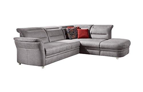 Cavadore Eck-Sofa Bontlei / Polsterecke mit Ottomane und Federkern-Polsterung / 261 x 88 x 237 cm (BxHxT) / Mikrofaser grau