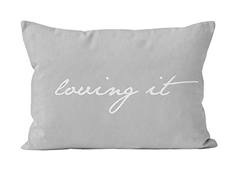 Kissenbezüge Kissenbezug 50x60 cm LOVING IT/ grau + weiß Landhaus Vinatge