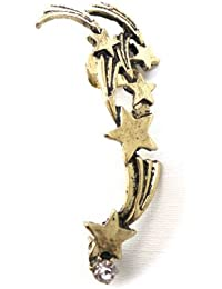 Réf060 BO.619 - Boucle D'oreille Femme - Bague D'oreille Gauche Ear Cuff Etoiles Filantes - Métal Doré Vieilli