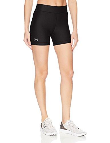 Under Armour Women's HeatGear Armour Middy Shorts, Black/Metallic Silver, Medium - Silver Womens Shorts