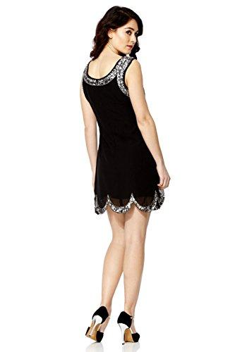 Femmes - Robe droite sequin perlé frange garçonne style vintage années 20 Charleston abbaye Gatsby Noir