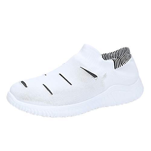 FeiBeauty Herren Mode Loch Socken Schuhe Stricken Oberer Breathable Leichte Sport Laufschuhe Weiche Turnschuhe Fitnessschuhe Sportschuhe Rot-Weiss 39-44EU