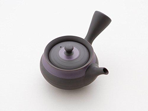 Original japanische Teekanne, Kyusu, mit 2 Becher: Shu Hira Murasakinakaobi. Integriertes Tee-Sieb aus Edelstahl. Echt japanisches Tee-Set aus natürlichem Tokoname-Ton in schöner Geschenk-Box