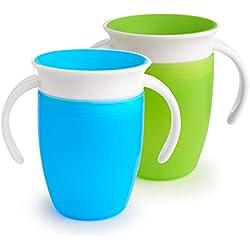 Munchkin Miracle 360 ° - Vaso de entrenamiento, Verde/Azul, 7oz / 207ml, Pack de 2