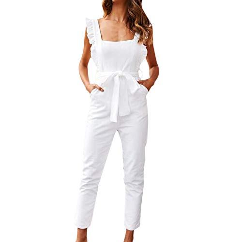 en Geraffte Rüschen Ärmel Taschen Overall Damen Belted Sommerurlaub Weiß S ()