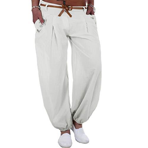 Haremshose Dorical Damen Pumphose Lange Elegant Leinen Hose,Yogahosen,Freizeithose,Stoffhose leicht,Pumphose zum Tanzen,Sommerhose,Lose Pants mit Gürtel,8 Farben S-5XL (80% (Weiß,Medium)