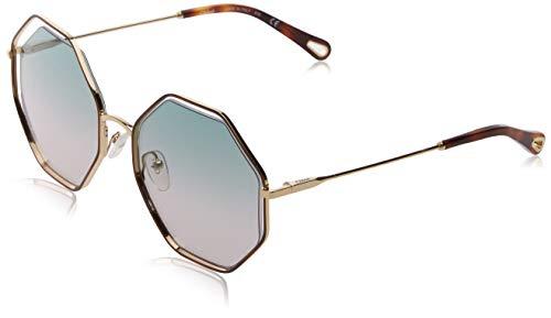 Chloè ce132s occhiali da sole, verde (havana/green rose), 58 donna