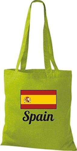 T-shirt In Tessuto Borsa In Cotone Borsa Country Juta Spagna Spagna Colore Rosa Limegreen