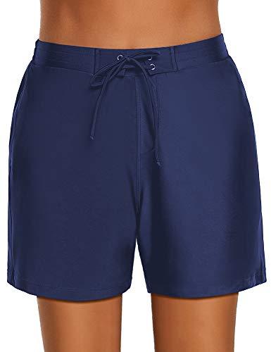 Roskiki Damen Boardshorts, Vorderseite zum Schnüren Marineblau Größe M (Größe Board Shorts 40)