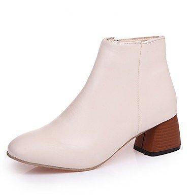 RTRY Scarpe Donna Pu Floccaggio Inverno Comfort Moda Stivali Stivali Stiletto Heel Round Toe Zipper Per Casual Beige Marrone Nero US7.5 / EU38 / UK5.5 / CN38