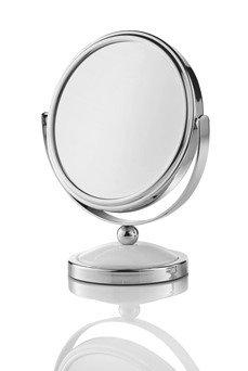 RESTPOSTEN Kleiner Standspiegel Metall rund 1- und 5-fache Vergrößerung (B-Ware), Fuß weiß, 4er...
