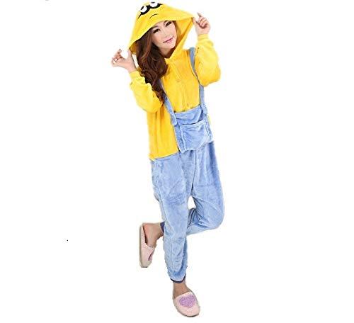 Unisex Halloween Despicable me Minions Onesie Kigurumi Pyjama Karneval Kostüm Maskenkostüm Kapuzenpulli Schlafanzüge M(Height 160cm-170cm)