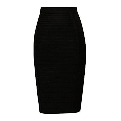 HLBandage Knee Length High Waist Stripe Rayon Bandage Skirt(S,Noir)