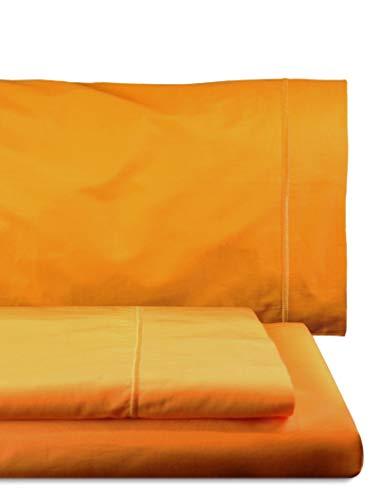 Juego de sábanas Compuesto por encimera, 160 x 285 cm, Bajera Ajustable, 90 x 200 cm, Funda para Almohada, 45 x 110 cm, Color Amarillo