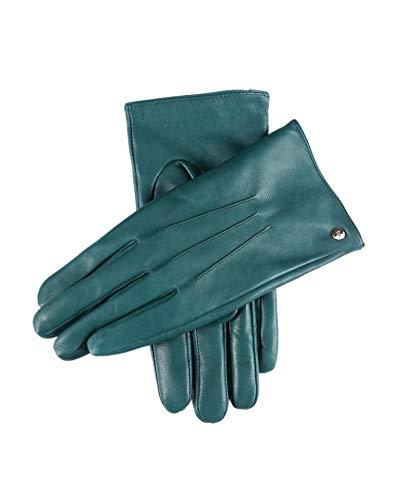 YISEVEN Guanti in pelle di vitello touchscreen donne tre punti mano vera lana calda fodera per inverno moto guida vestito da lavoro regali, verde medio