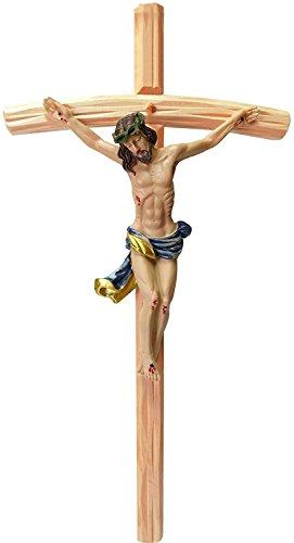 Kaltner Präsente Geschenkidee - Wandkreuz Kruzifix mit Jesus Christus Figur auf Kreuz aus Holz 35 cm von Hand Bemalt