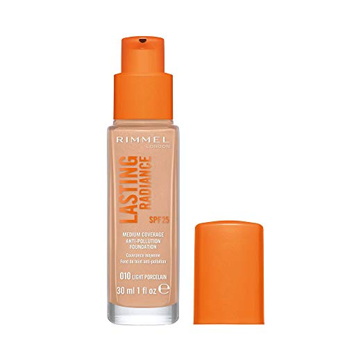 Rimmel Lasting Radiance Medium Coverage Anti Pollution Foundation, SPF 25, 010 Light Porcelain (Rimmel Wake Me Up Foundation Upgrade)