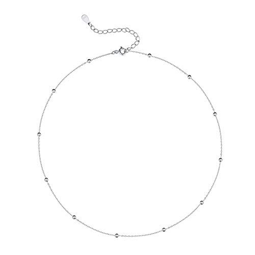 Minimalist Ball Choker Sterling Silver Necklace for Women Teen Girls Satellite Beaded Chain Layering Simple Chokers…