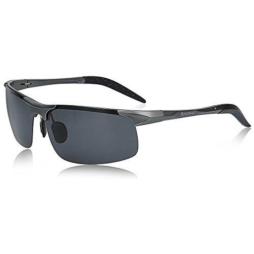 SUNGAIT Herren polarisierte sonnenbrille für das fahren angeln golf metallrahmen uv400 Gunmetal Rahmen/Grau Linse Free Size