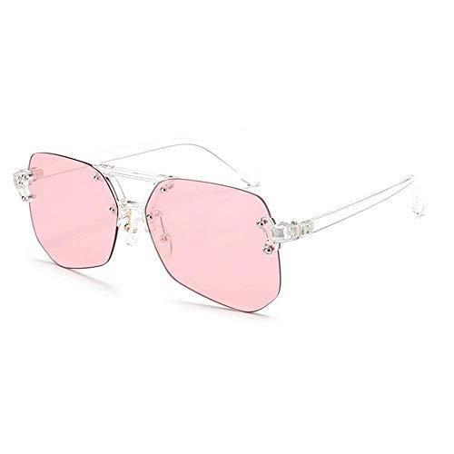 XHCP Frauen Polarisierte Klassische Aviator Sonnenbrille, Unregelmäßige Rahmenlose Stil Uv-Schutz Sonnenbrille Für Männer Frauen Farbige Linse Im Freien Fahren Reisen Sommer Strand (Farbe: Rosa)