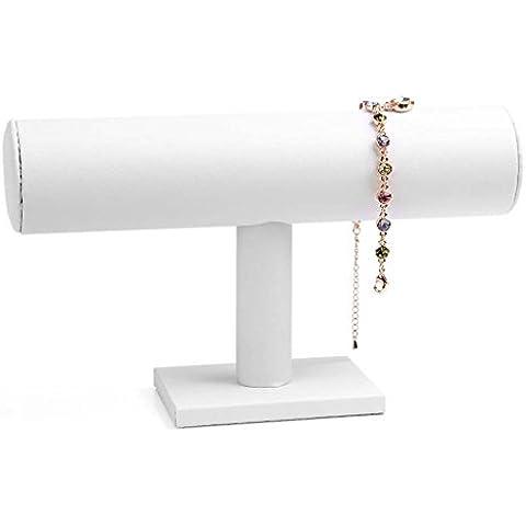 Etruke a ripiani in pelle braccialetto orologio gioielli Display Stand Porta White - Braccialetto Jewelry Display Stand