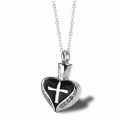 LIANTSH Asche Kreuz Halskette für Frauen Feuerbestattung Andenken Memorial Urne Anhänger Halsketten (Schwarz) - Foto Katze Urn