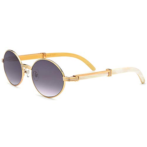 Mode Retro Rund Gold Full Frame Horn Material Sonnenbrille Grau Objektiv Pure Natural Handmade UV400 Schutz