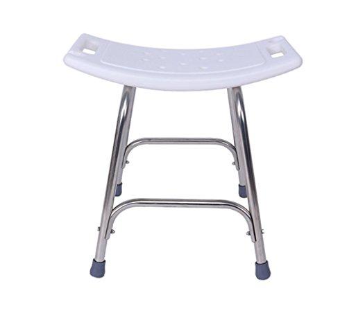 JXXDDQ Duschstuhl Badesitz, höhenverstellbarer Edelstahl Bad Bad Stuhl PE Bench Platte gebogenes Design, Bär 200KG Größe -46x40x48cm, weiß -