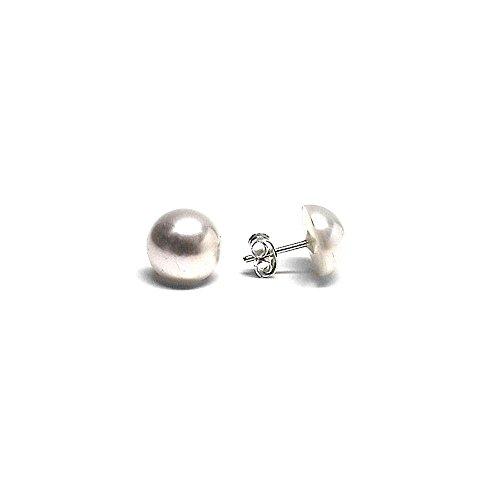 925m orecchini in argento legge media 10 millimetri sintetico. (10 Millimetri Sintetico Perle)