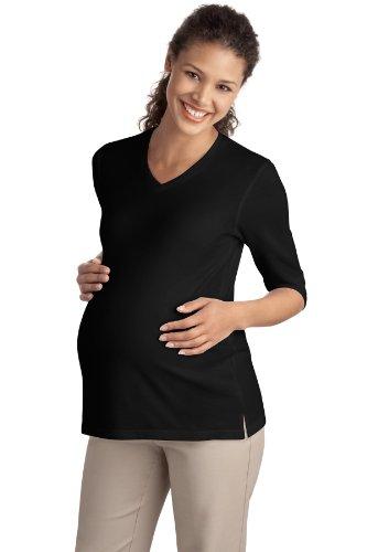 Autorità portuale L561M tatto per gravidanza, da donna, maniche a 3/4, camicia, collo a V Nero