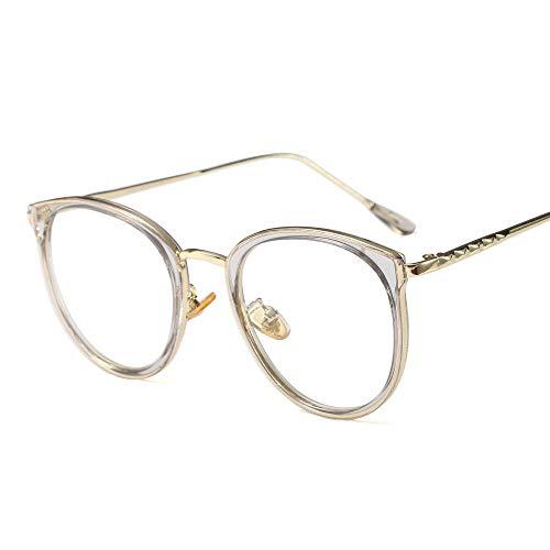 Shengjuanfeng-brillen Retro Art- und Weiserunder Eyewear-Rahmen-optische klare Linsen-Gläser für Frauen. Accessoires (Farbe : Clear/Gray)