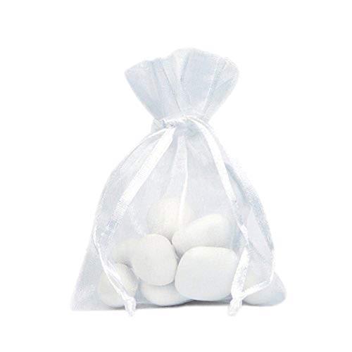 4443c25a3 Kanggest 100Pcs Bolso Blanco de Organza Bolsitas de Tul para Decoración del  Banquete de Boda Bolso del Caramelo Bolso del Hilado la Perla Regalo Joyería  9 * ...