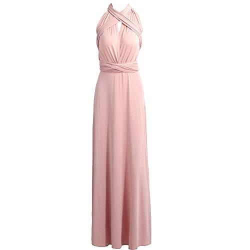MENSDXA Kleiden Long Dress Bridesmaid Formal Multi Way Wrap Convertible Infinity Maxi Dress Pink Hollow Out Party Bandage Vestidos One Size Pink -