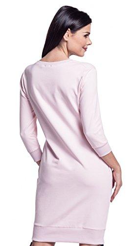 Zeta Ville - Felpa-vestito mini top tasche maniche 3/4 girocollo - donna - 606z Rosa Cipria