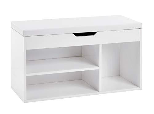 ts-ideen Schuhbank Schuhschrank Bad Flur Diele Sitztruhe Weiß Sitzbank Gepolstert Kommode 46,5 x 80 cm -