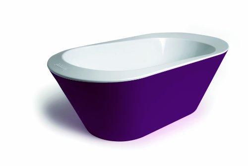 Hoppop 32130060 Bato+ - Bañera con indicador de temperatura y agujero de desagüe para bebés, color morado y blanco