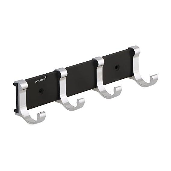 DOCOSS -Stylish 4 Pin Bathroom Cloth Hooks Hanger Door Wall Robe Hooks Rail for Hanging Keys,Clothes,Towel Steel Hook (1)